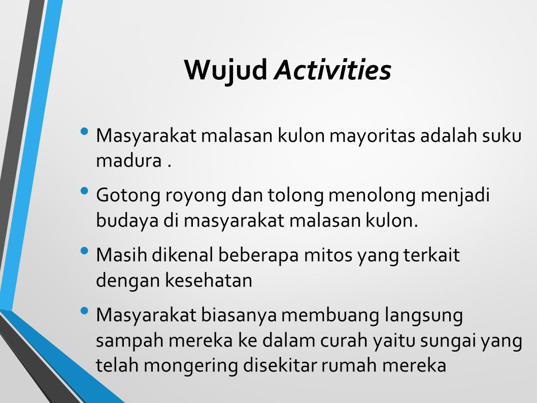 Wujud Activities Masyarakat malasan kulon mayoritas adalah suku madura .