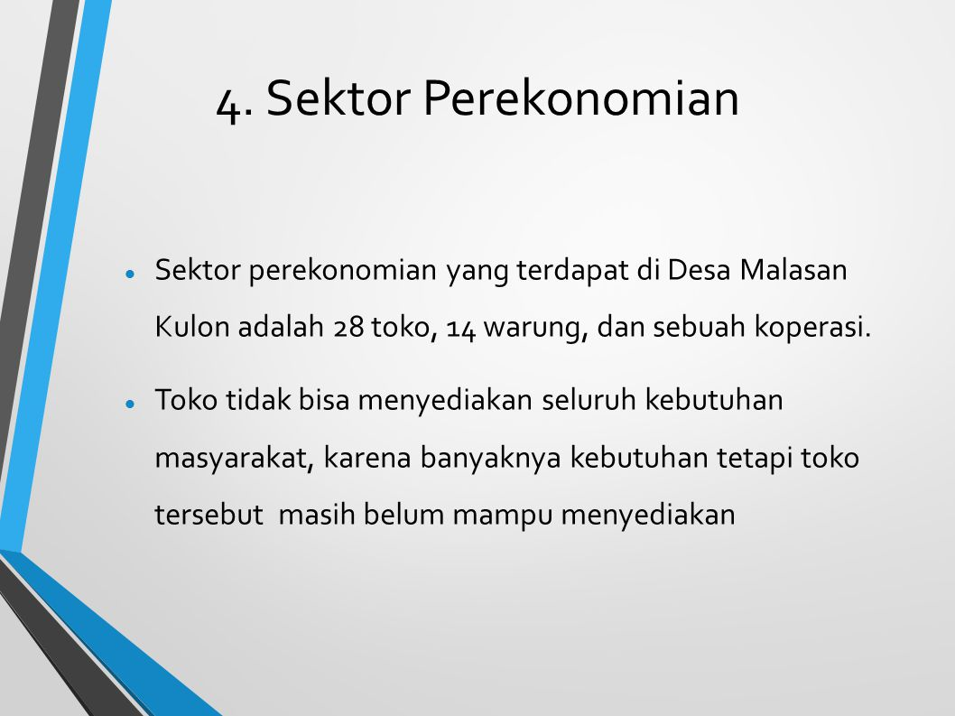 4. Sektor Perekonomian Sektor perekonomian yang terdapat di Desa Malasan Kulon adalah 28 toko, 14 warung, dan sebuah koperasi.