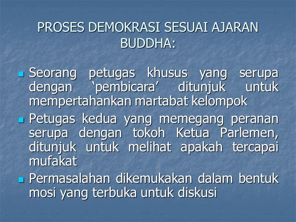 PROSES DEMOKRASI SESUAI AJARAN BUDDHA: