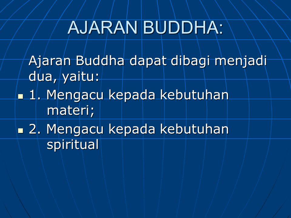 AJARAN BUDDHA: Ajaran Buddha dapat dibagi menjadi dua, yaitu: