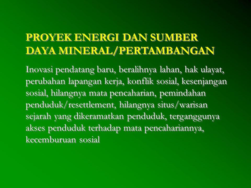 PROYEK ENERGI DAN SUMBER DAYA MINERAL/PERTAMBANGAN