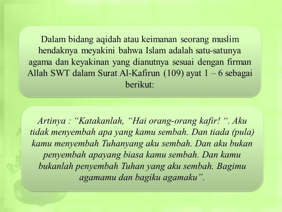 Dalam bidang aqidah atau keimanan seorang muslim hendaknya meyakini bahwa Islam adalah satu-satunya agama dan keyakinan yang dianutnya sesuai dengan firman Allah SWT dalam Surat Al-Kafirun (109) ayat 1 – 6 sebagai berikut: