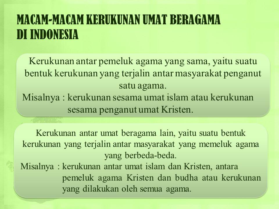MACAM-MACAM KERUKUNAN UMAT BERAGAMA DI INDONESIA