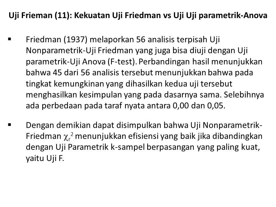 Uji Frieman (11): Kekuatan Uji Friedman vs Uji Uji parametrik-Anova
