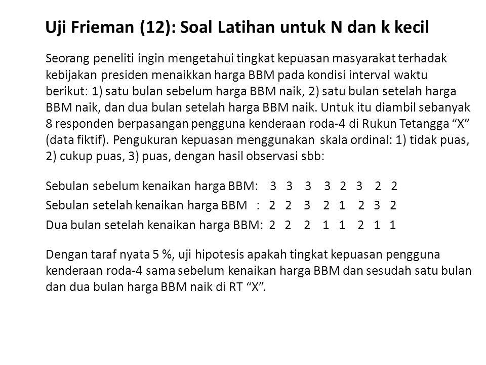 Uji Frieman (12): Soal Latihan untuk N dan k kecil
