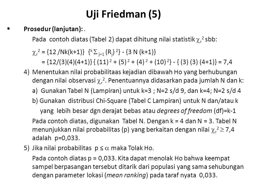 Uji Friedman (5) Prosedur (lanjutan): .