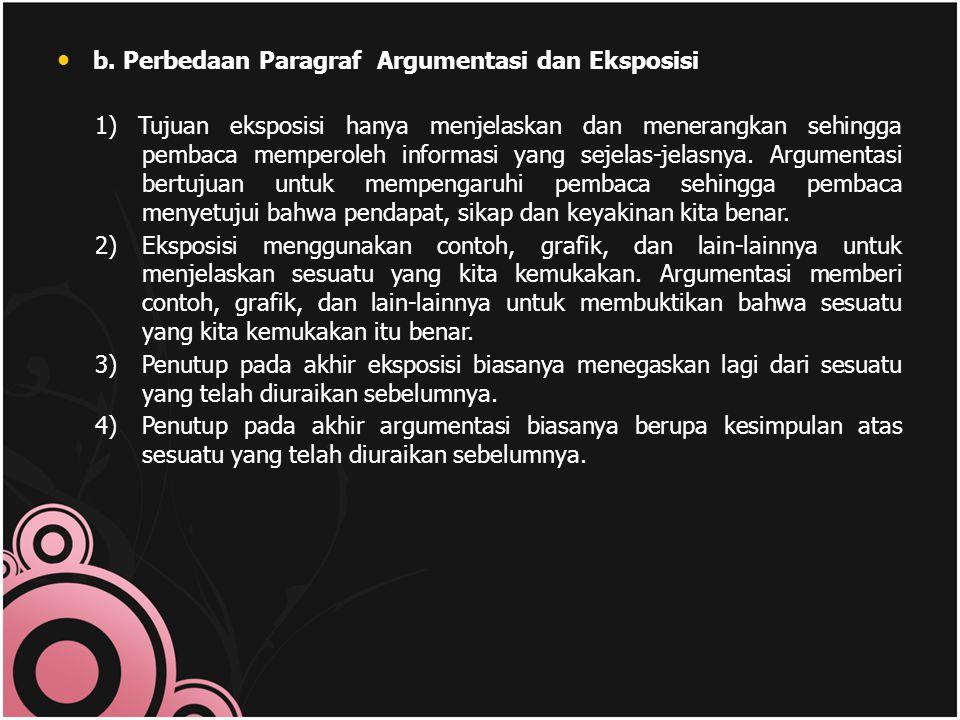 b. Perbedaan Paragraf Argumentasi dan Eksposisi
