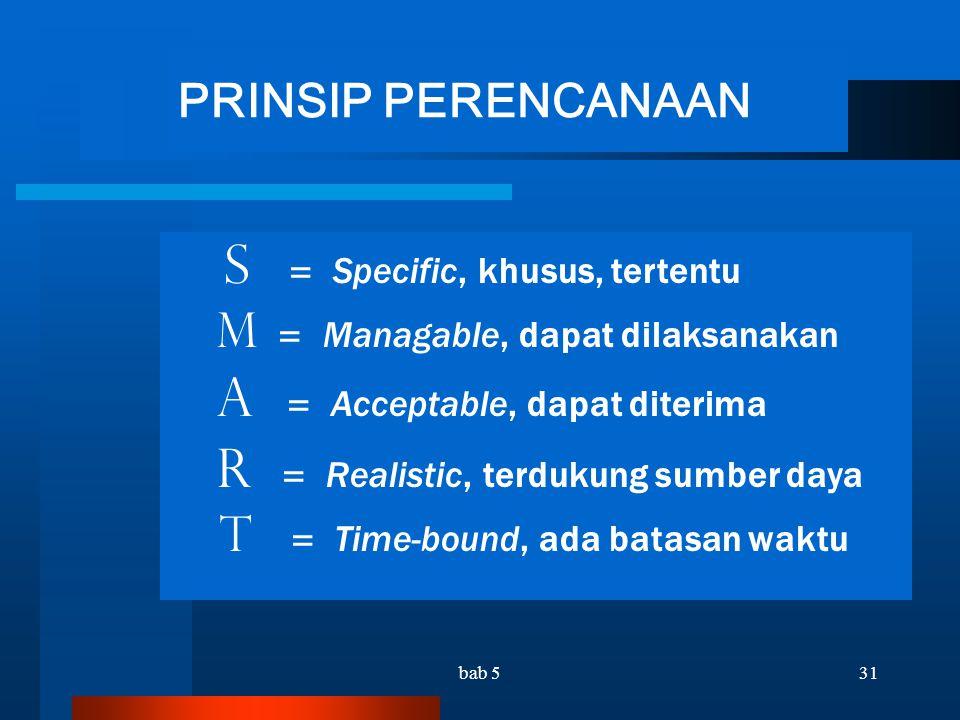 PRINSIP PERENCANAAN S = Specific, khusus, tertentu
