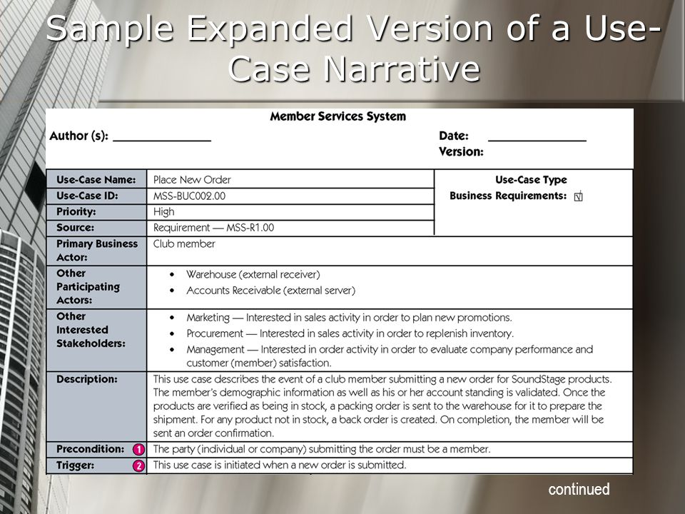 Sample Expanded Version of a Use-Case Narrative