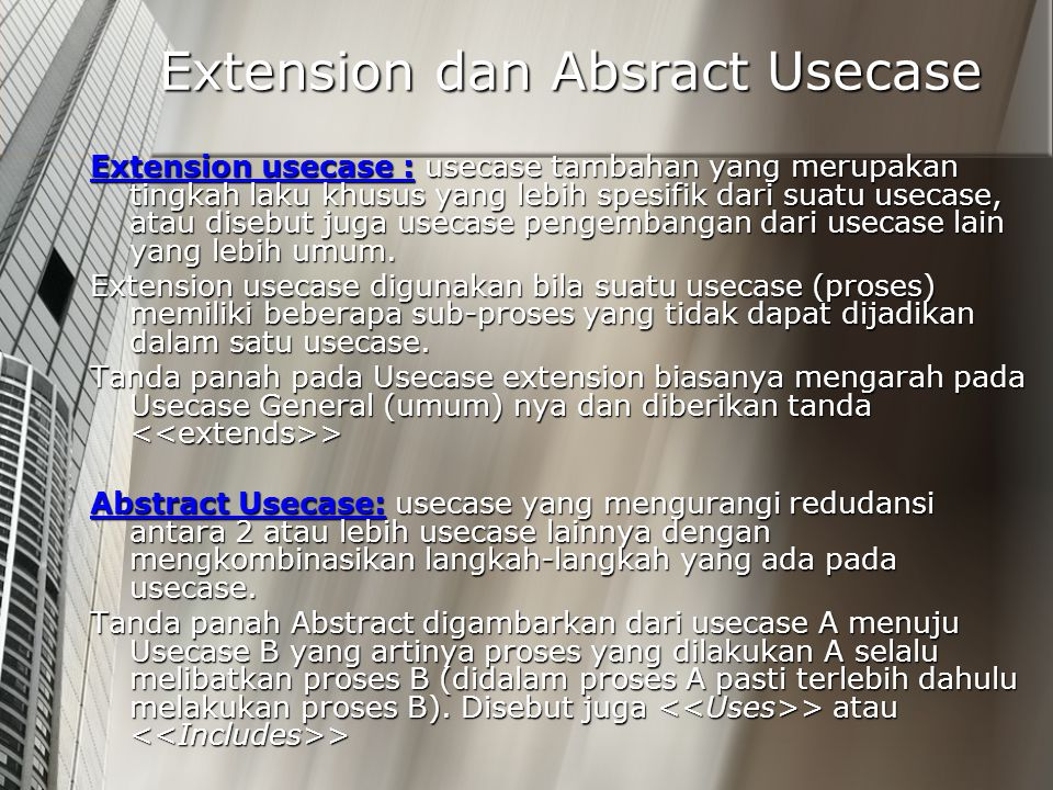 Extension dan Absract Usecase