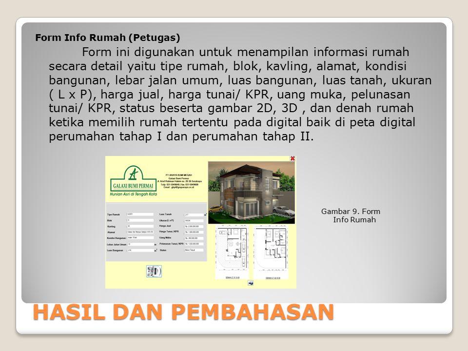 Form Info Rumah (Petugas) Form ini digunakan untuk menampilan informasi rumah secara detail yaitu tipe rumah, blok, kavling, alamat, kondisi bangunan, lebar jalan umum, luas bangunan, luas tanah, ukuran ( L x P), harga jual, harga tunai/ KPR, uang muka, pelunasan tunai/ KPR, status beserta gambar 2D, 3D , dan denah rumah ketika memilih rumah tertentu pada digital baik di peta digital perumahan tahap I dan perumahan tahap II.