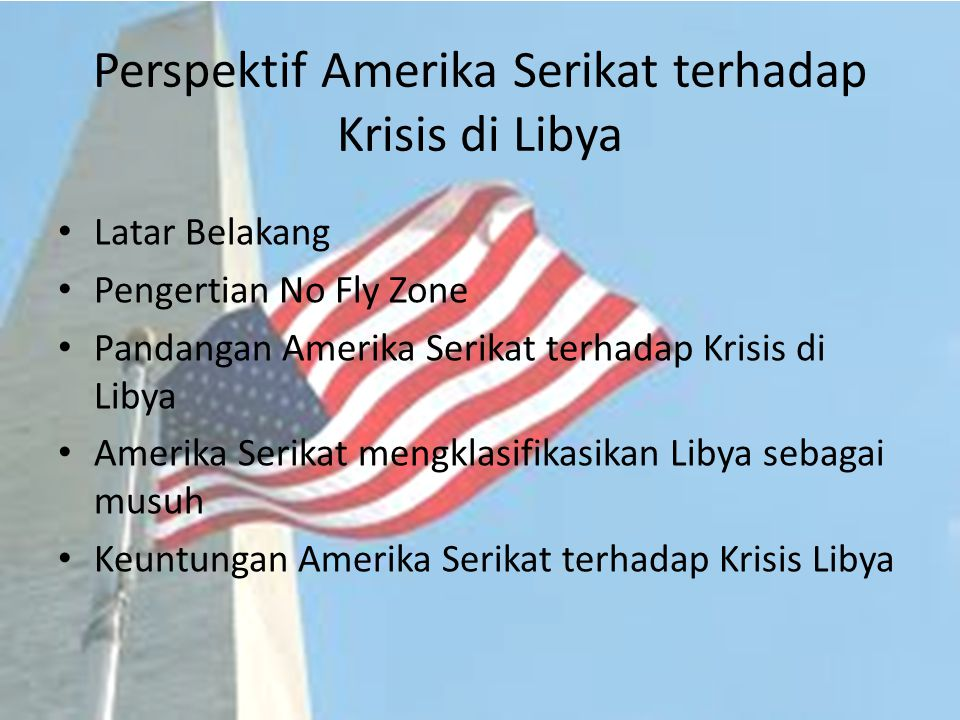 Perspektif Amerika Serikat terhadap Krisis di Libya