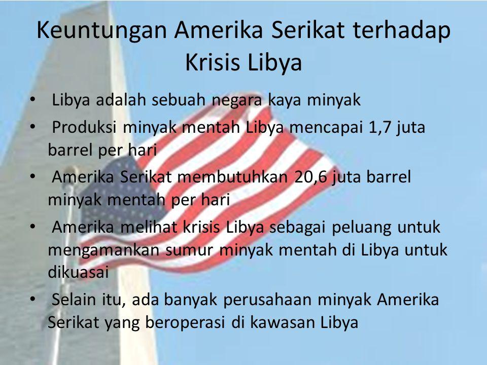 Keuntungan Amerika Serikat terhadap Krisis Libya
