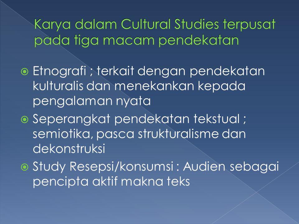 Karya dalam Cultural Studies terpusat pada tiga macam pendekatan