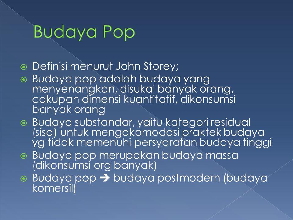 Budaya Pop Definisi menurut John Storey;