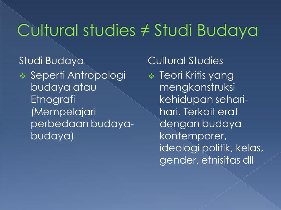 Cultural studies ≠ Studi Budaya