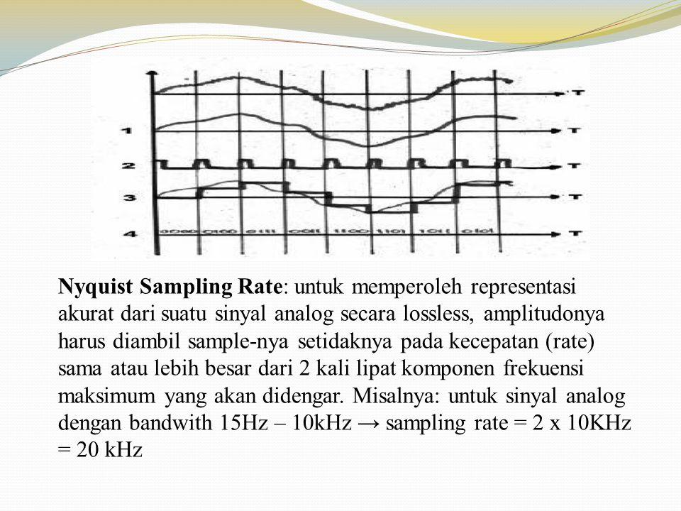 Nyquist Sampling Rate: untuk memperoleh representasi akurat dari suatu sinyal analog secara lossless, amplitudonya harus diambil sample-nya setidaknya pada kecepatan (rate) sama atau lebih besar dari 2 kali lipat komponen frekuensi maksimum yang akan didengar.