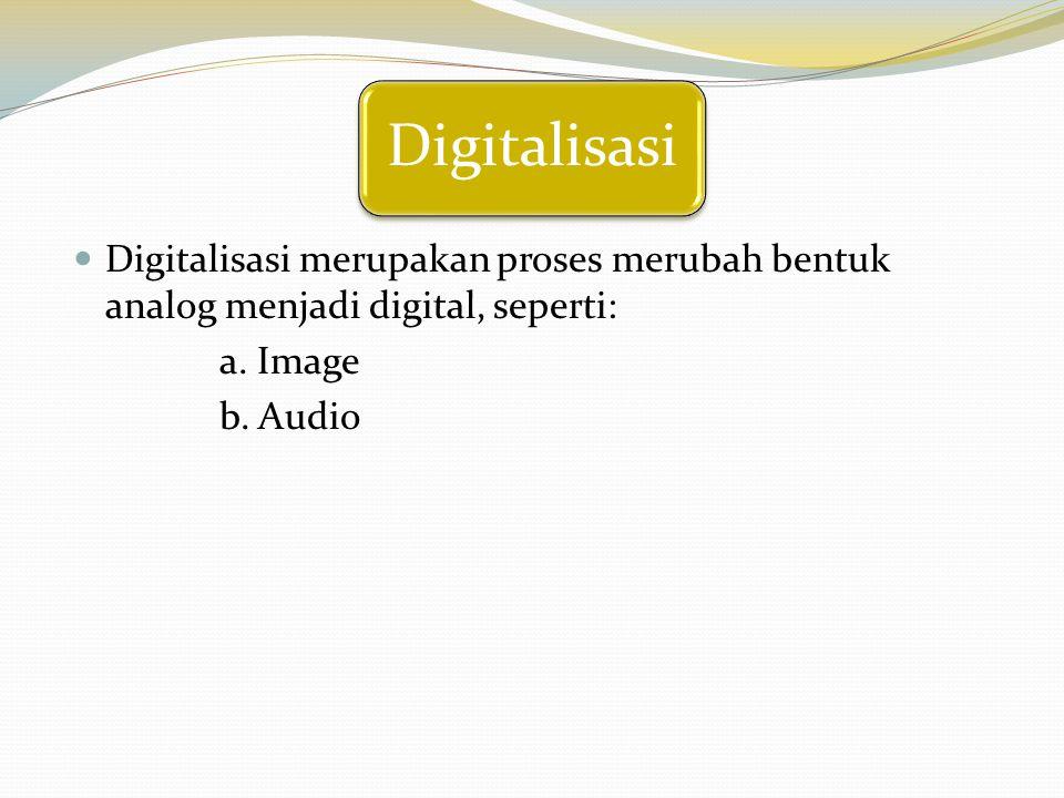 Digitalisasi Digitalisasi merupakan proses merubah bentuk analog menjadi digital, seperti: a. Image.