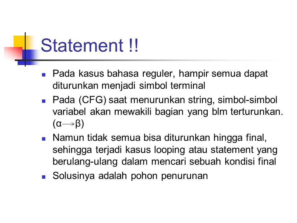 Statement !! Pada kasus bahasa reguler, hampir semua dapat diturunkan menjadi simbol terminal.