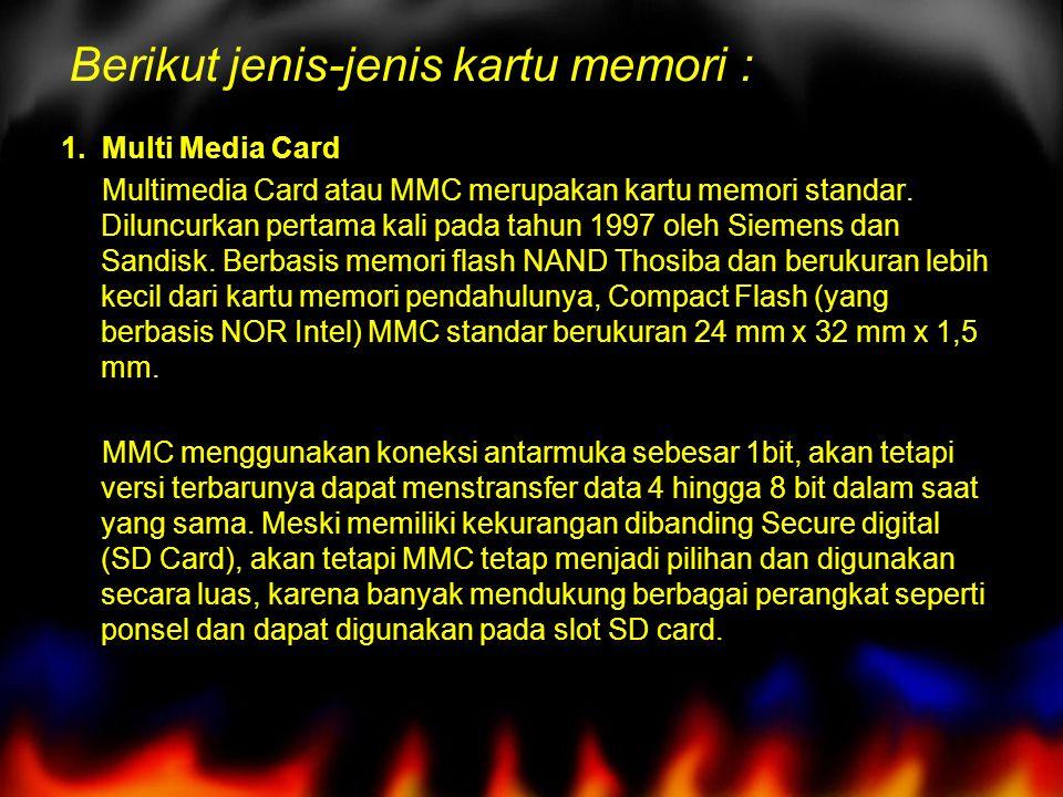 Berikut jenis-jenis kartu memori :