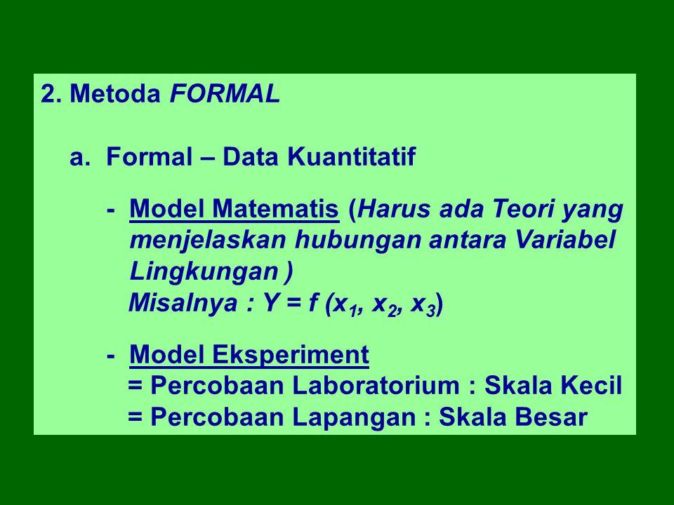 2. Metoda FORMAL a. Formal – Data Kuantitatif. - Model Matematis (Harus ada Teori yang menjelaskan hubungan antara Variabel Lingkungan )