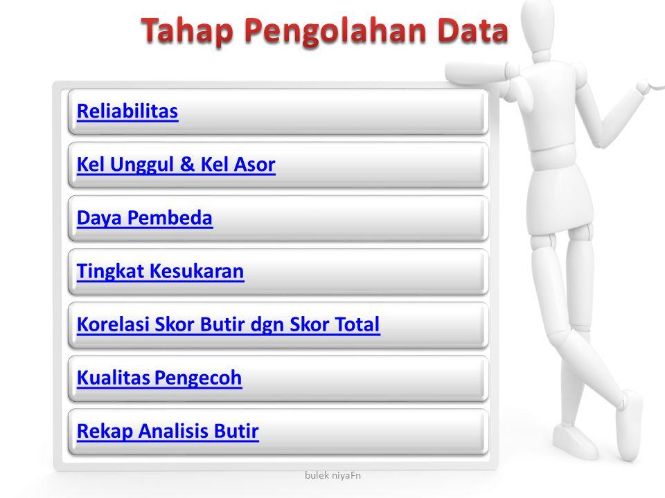 Tahap Pengolahan Data Reliabilitas Kel Unggul & Kel Asor Daya Pembeda