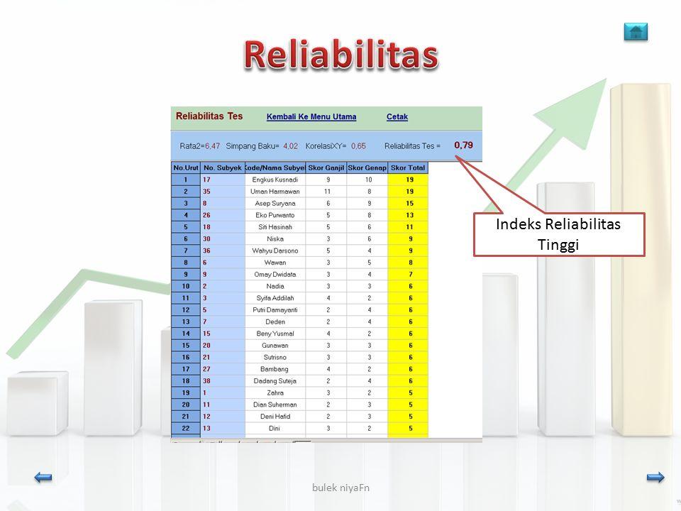 Reliabilitas Indeks Reliabilitas Tinggi bulek niyaFn niya