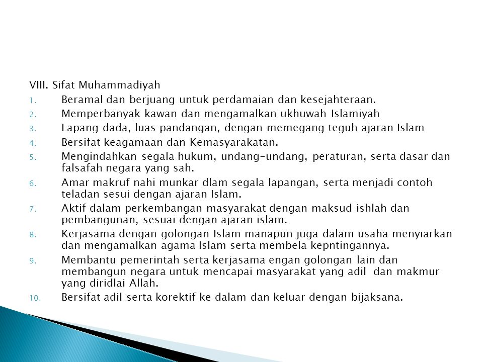 VIII. Sifat Muhammadiyah