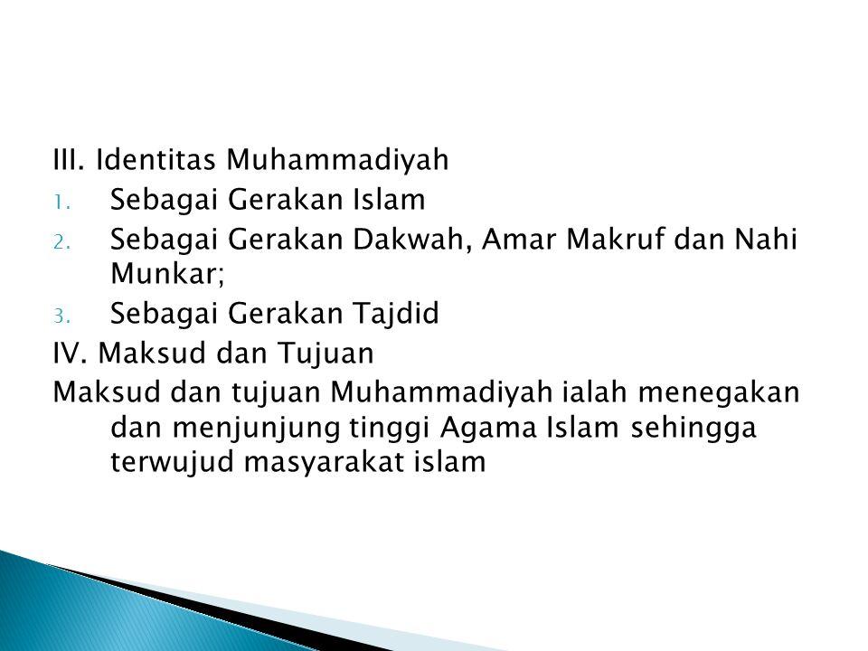 III. Identitas Muhammadiyah