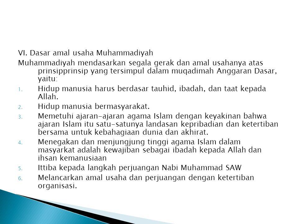 VI. Dasar amal usaha Muhammadiyah