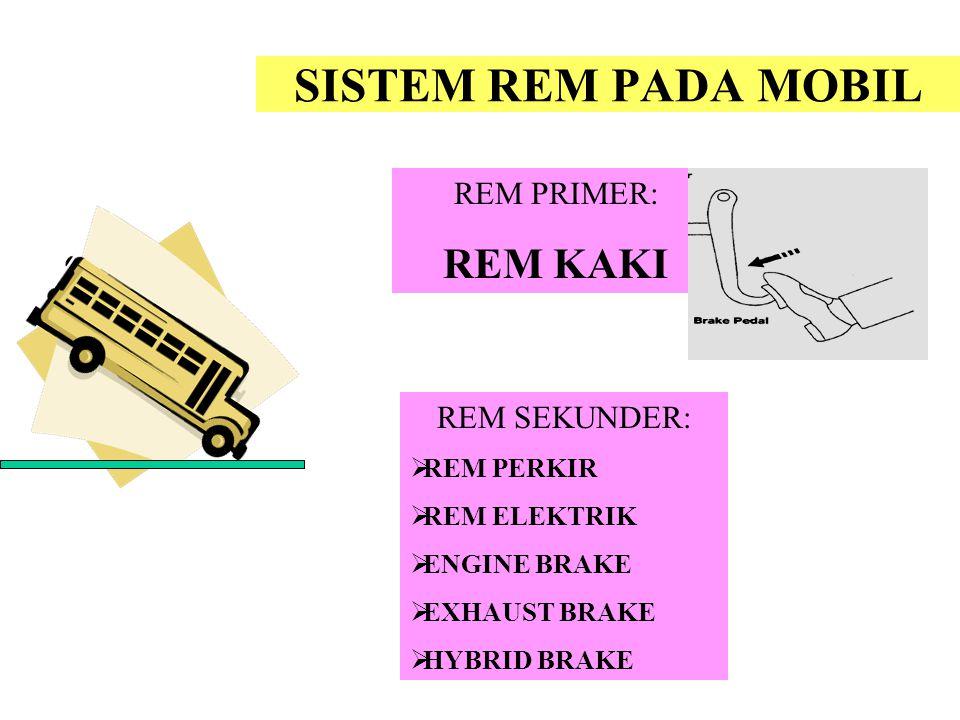 SISTEM REM PADA MOBIL REM KAKI REM PRIMER: REM SEKUNDER: REM PERKIR
