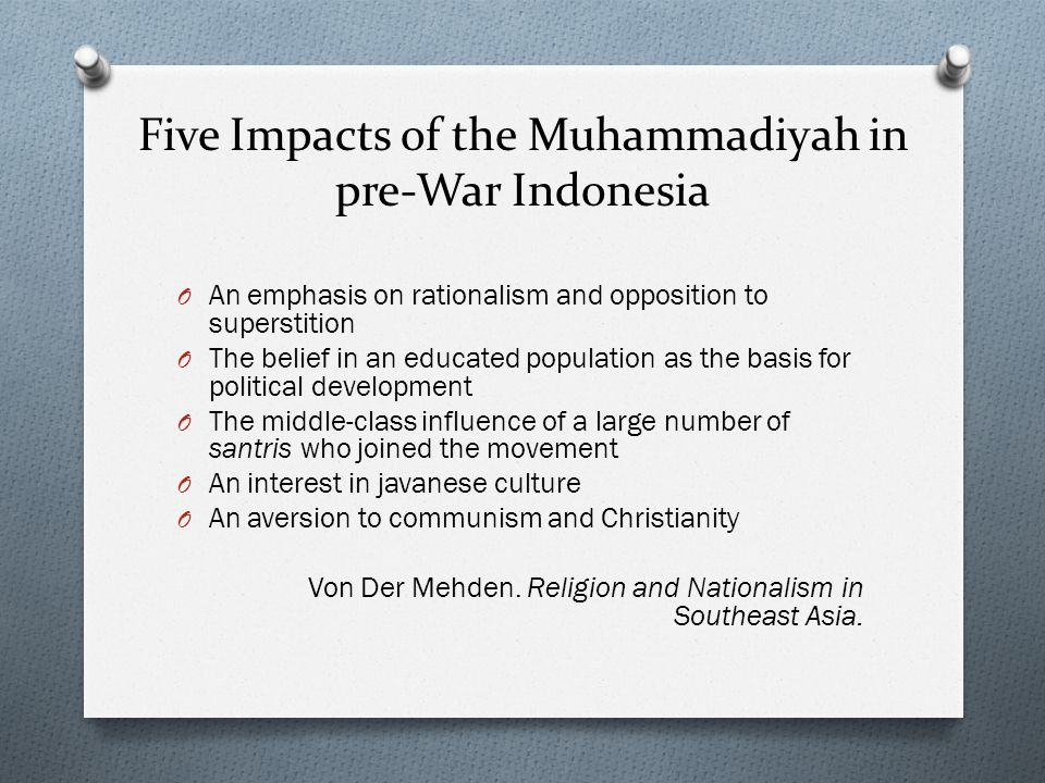 Five Impacts of the Muhammadiyah in pre-War Indonesia
