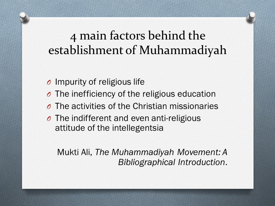 4 main factors behind the establishment of Muhammadiyah
