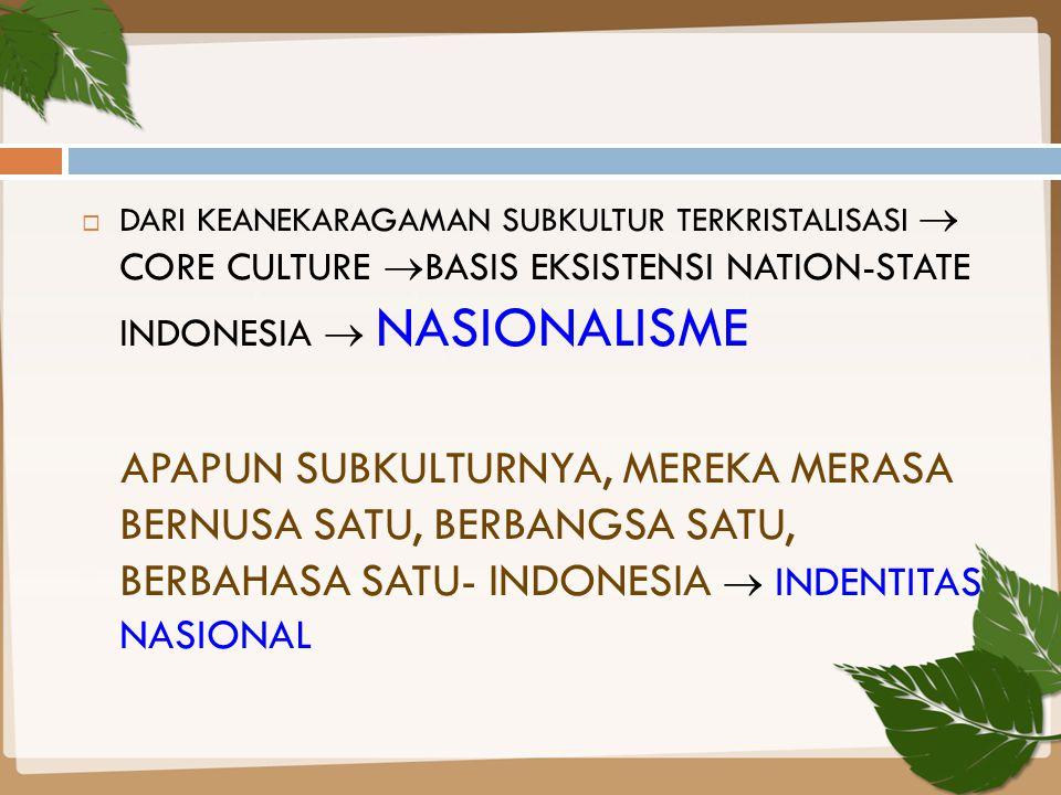 DARI KEANEKARAGAMAN SUBKULTUR TERKRISTALISASI  CORE CULTURE BASIS EKSISTENSI NATION-STATE INDONESIA  NASIONALISME