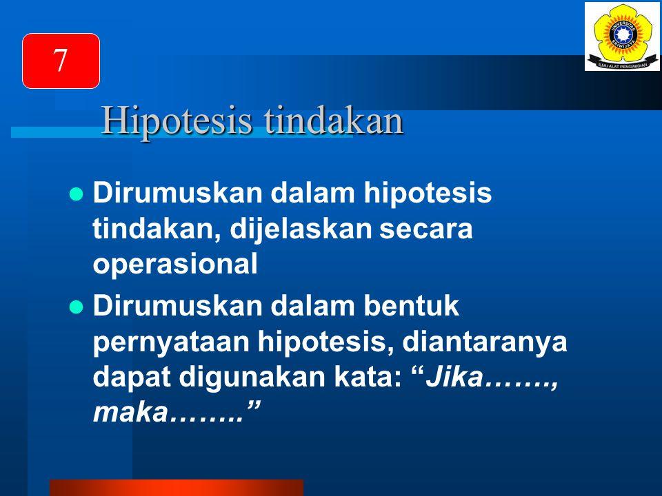 7 Hipotesis tindakan. Dirumuskan dalam hipotesis tindakan, dijelaskan secara operasional.