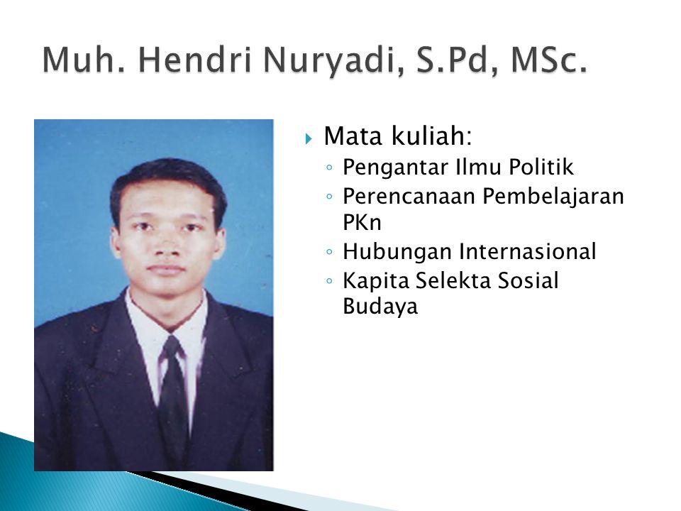 Muh. Hendri Nuryadi, S.Pd, MSc.