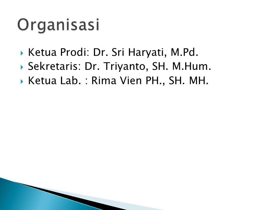Organisasi Ketua Prodi: Dr. Sri Haryati, M.Pd.