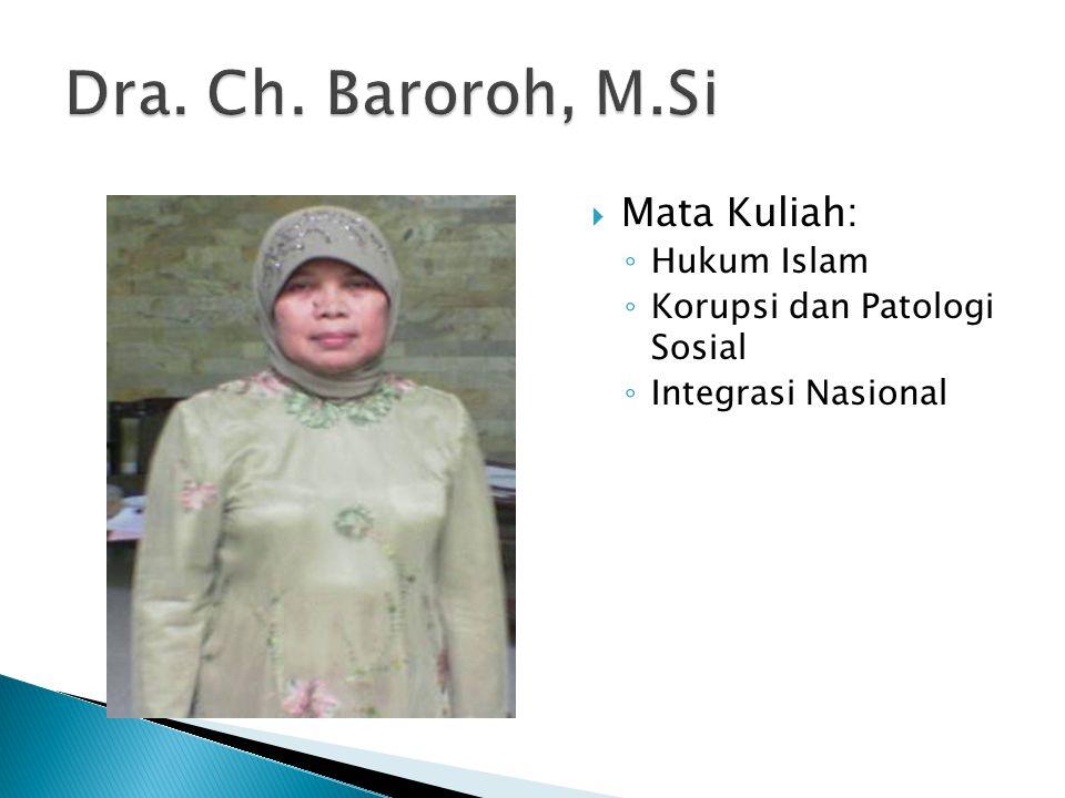 Dra. Ch. Baroroh, M.Si Mata Kuliah: Hukum Islam