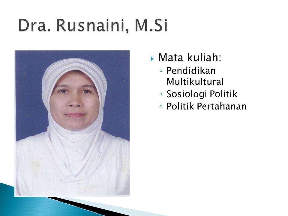 Dra. Rusnaini, M.Si Mata kuliah: Pendidikan Multikultural