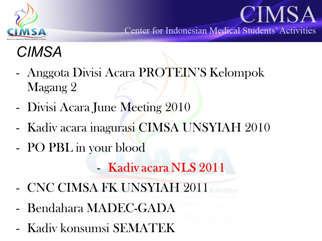 CIMSA Anggota Divisi Acara PROTEIN'S Kelompok Magang 2
