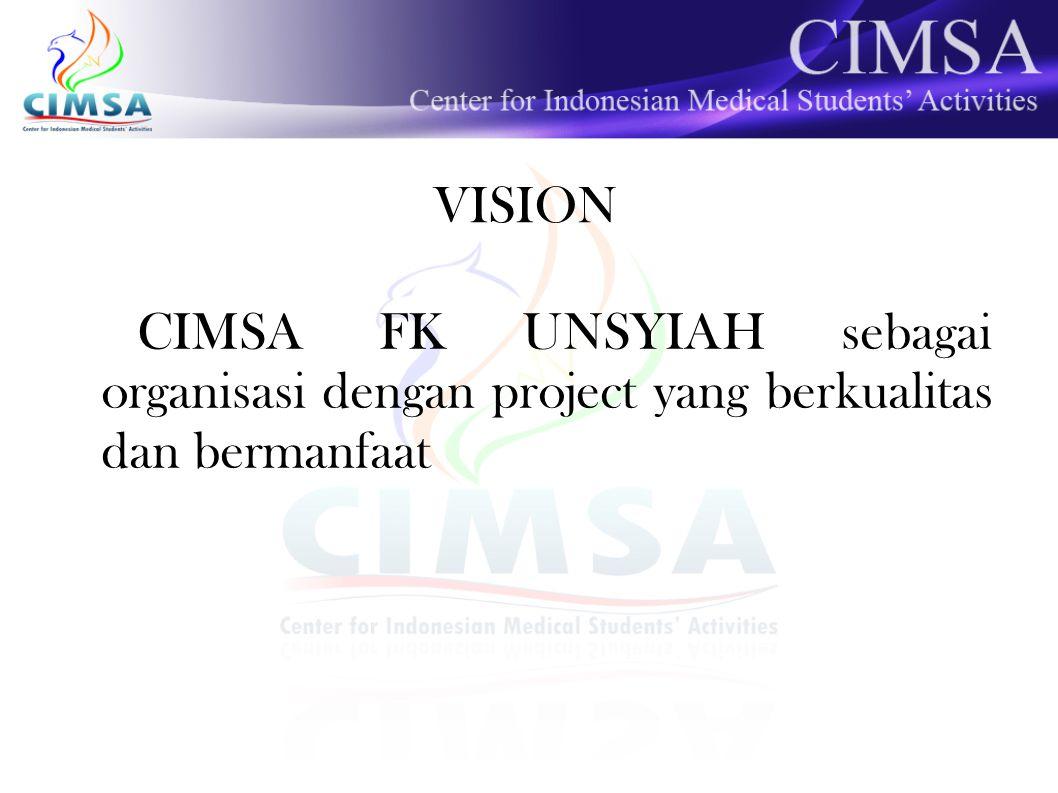 VISION CIMSA FK UNSYIAH sebagai organisasi dengan project yang berkualitas dan bermanfaat