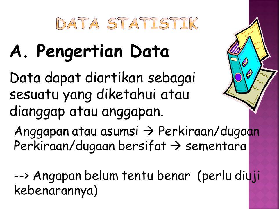 A. Pengertian Data DATA STATISTIK