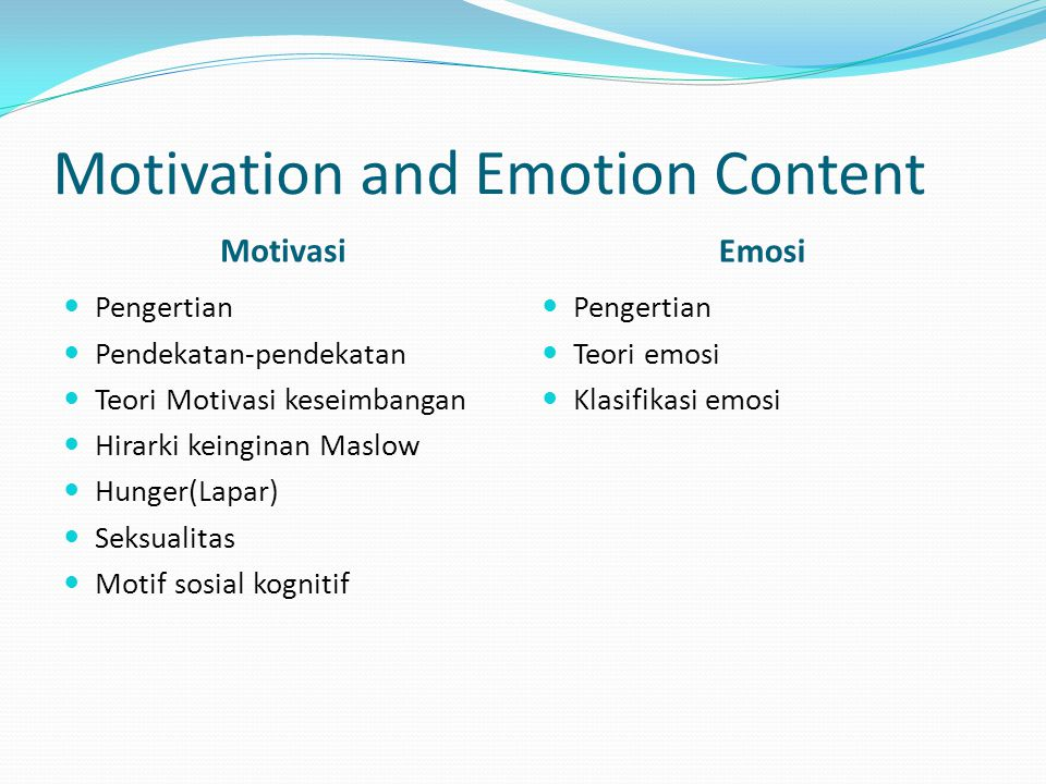 Motivation and Emotion Content