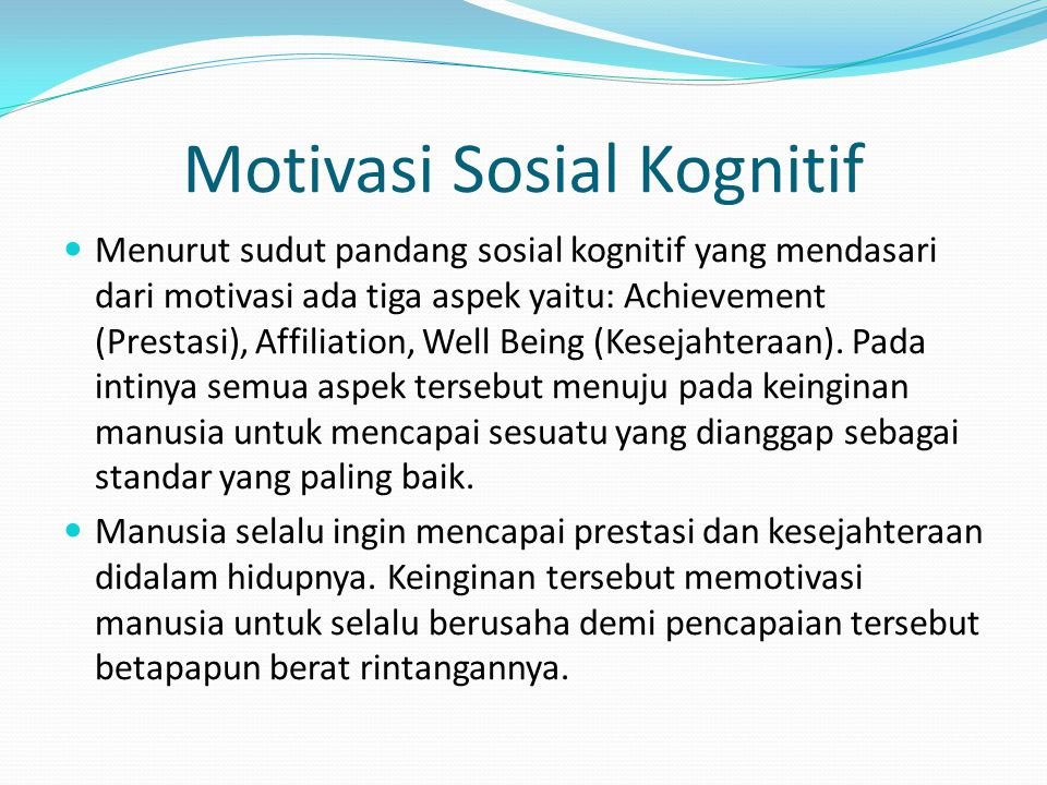 Motivasi Sosial Kognitif