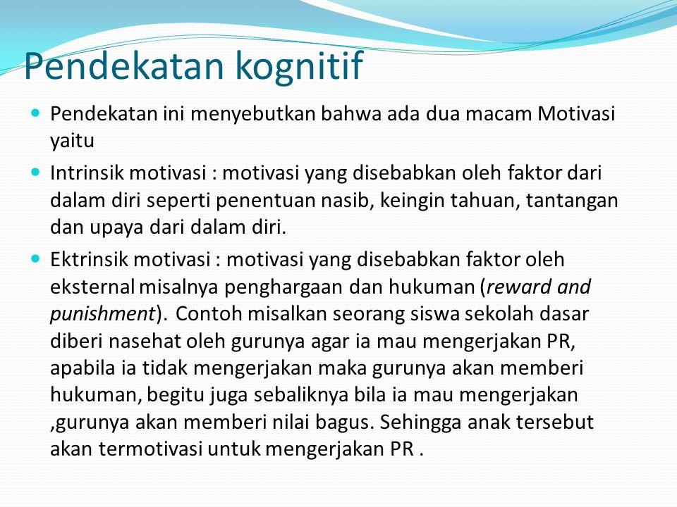 Pendekatan kognitif Pendekatan ini menyebutkan bahwa ada dua macam Motivasi yaitu.
