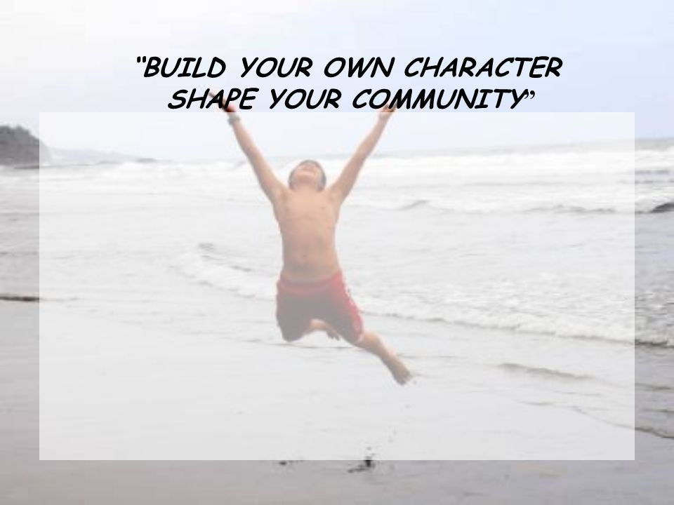 BUILD YOUR OWN CHARACTER SHAPE YOUR COMMUNITY