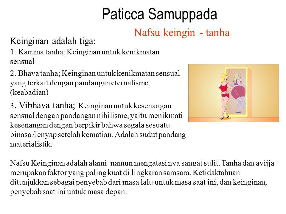 Paticca Samuppada Nafsu keingin - tanha Keinginan adalah tiga: