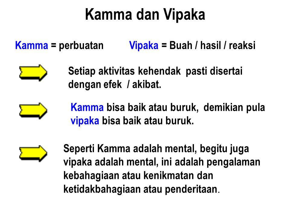 Kamma dan Vipaka Kamma = perbuatan Vipaka = Buah / hasil / reaksi