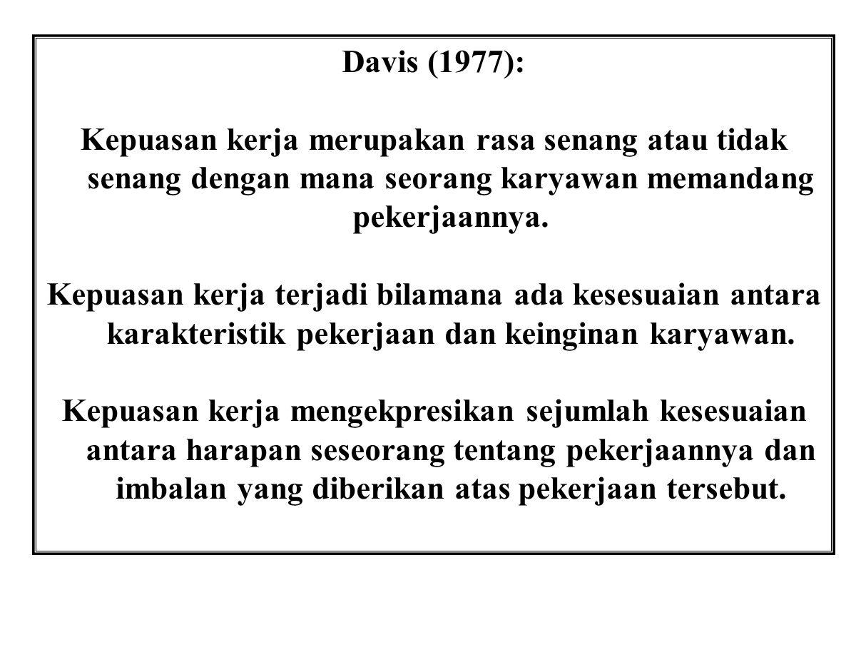 Davis (1977): Kepuasan kerja merupakan rasa senang atau tidak senang dengan mana seorang karyawan memandang pekerjaannya.