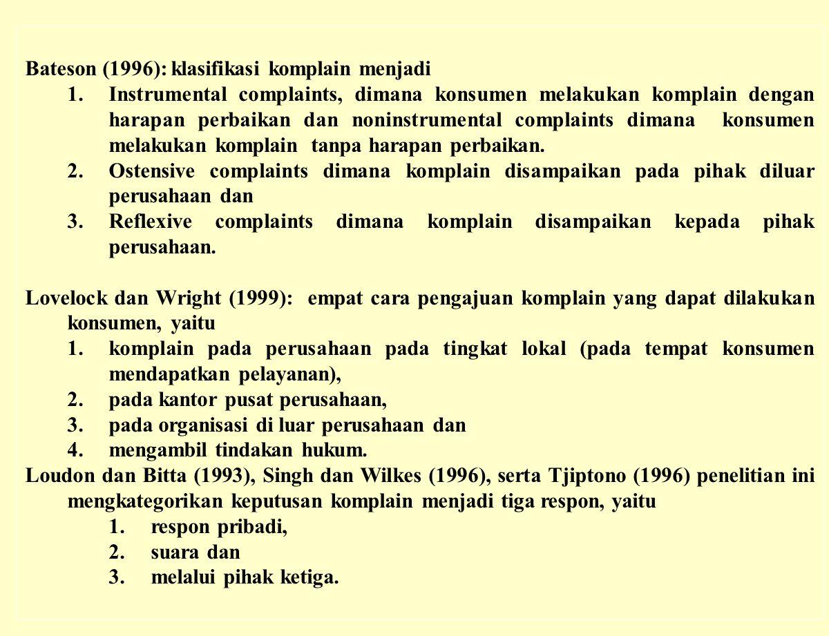 Bateson (1996): klasifikasi komplain menjadi